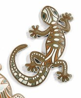 """10"""" Brown With White and Orange Accented Polyresin Gecko Wall Plaque"""