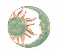 """18"""" Round Copper Verdigris Sun and Moon Face Metal Wall Plaque"""