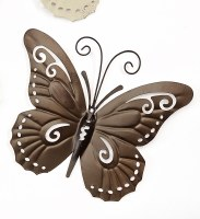 """9"""" Brown Metal With Antique Finish Butterfly Wall Plaque"""