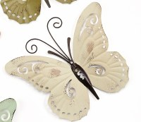 """9"""" Ivory Metal With Antique Finish Butterfly Wall Plaque"""