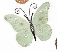 """9"""" Mint Green Metal With Antique Finish Butterfly Wall Plaque"""