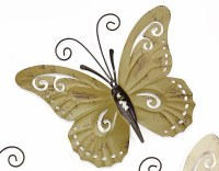 """9"""" Olive Green Metal With Antique Finish Butterfly Wall Plaque"""