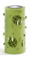"8"" Solar LED Green Metal Turtle Lantern"