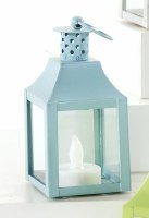 """5"""" Blue Metal Lantern With LED Tealite Candle"""