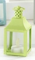 "5"" Green Metal Lantern With LED Tealite Candle"
