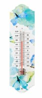 """8"""" Blue and Green Butterflies Metal Thermometer"""