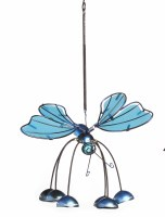 """13"""" Blue Acrylic Butterfly With Head Down Wind Chime"""