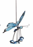"""13"""" Blue Acrylic Butterfly With Head Up Wind Chime"""