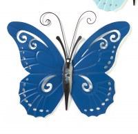 "17"" Dark Blue Butterfly Metal Wall Plaque"
