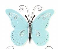 "17"" Light Blue Butterfly Metal Wall Plaque"