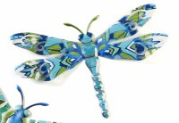 """15"""" Blue and Green Metal Light Blue Body Dragonfly Wall Plaque"""