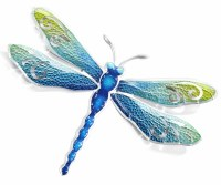 """15"""" Blue and Green With Silver Trim Metal Dragonfly Wall Plaque"""