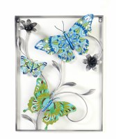"""25"""" x 18"""" Blue and Green Metal Butterfly Trio With Silver Frame Wall Plaque"""