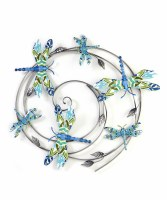 """25"""" Round Green and Blue Dragonflies in Silver Metal Circle Wall Plaque"""