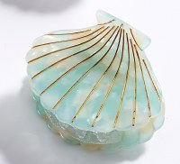 """2"""" Green Shell Clam Claw Hair Clip By Charlie Paige"""
