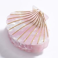 """2"""" Pink Shell Clam Claw Hair Clip By Charlie Paige"""