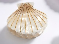 """2"""" White Shell Clam Claw Hair Clip By Charlie Paige"""