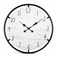 """24"""" Round Black Metal and Distressed Wood Wall Clock"""