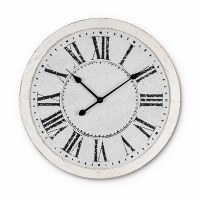 """25"""" Round Distressed White Metal Embossed Wall Clock"""