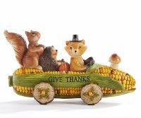 """9"""" Polyresin Animals in Corn Car With Give Thanks Sign"""