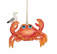 """3"""" Orange and Red Polyresin Crab With Seagull Ornament"""