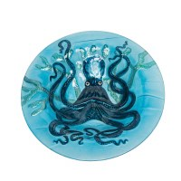 """12"""" Round Blue Glass Octopus Bowl"""