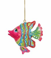 """3"""" Pink, Green, and Blue Polyresin Striped Fish Ornament"""