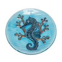 """12"""" Round Blue Glass Seahorse in Coral Plate"""
