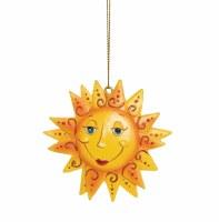 "3"" Round Yellow and Orange Polyresin Happy Sun Ornament"