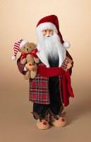 "18"" Bedtime Santa With Teddy Bear and Reindeer Slippers"