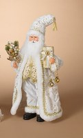 """18"""" Gold and White Santa With Gift and Ornament Bouquet"""