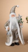 """18"""" Silver and White Santa With Star and Sequin Ornament"""