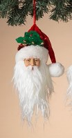 """9"""" Santa Head With Holly Hat Ornament"""