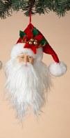 "9"" Santa Head With Poinsettia Hat Ornament"