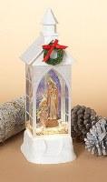 "12"" White Glitter LED Water Globe Church With Holy Family Nativity"