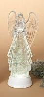 "13"" White Glitter LED Water Globe Angel Lantern With Timer"