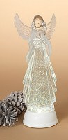 """13"""" White Glitter LED Water Globe Angel With Star Lantern With Timer"""
