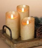 Set of 3 Gold Metallic Wax Aurora Flame LED Pillar Candles