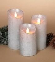 Set of 3 Silver Metallic Wax Aurora Flame LED Pillar Candles