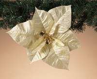"10"" Faux Gold Poinsettia Ornament With Clip"
