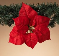 """10"""" Faux Red Poinsettia Ornament With Clip"""