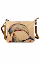 """10"""" Dolphin Canvas and leather Sling Purse"""