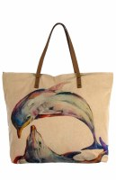 """20"""" Dolphin Canvas and Leather Tote"""