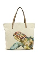 """20"""" Sea Turtle Canvas and Leather Tote Bag"""