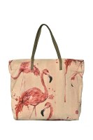 """20"""" Flamingo Canvas and Leather Tote Bag"""