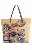 """20"""" Octopus Canvas and Leather Tote Bag"""