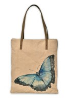 """15"""" Blue Morphal Butterfly Canvas and Leather Book Bag"""
