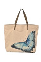 """20"""" Blue Morphal Butterfly Canvas and Leather Tote Bag"""