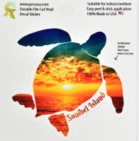 "4"" Sanibel Island Sunset Turtle Sticker"