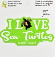 """4"""" I Love Sea Turtles Sanibel Island Sticker"""